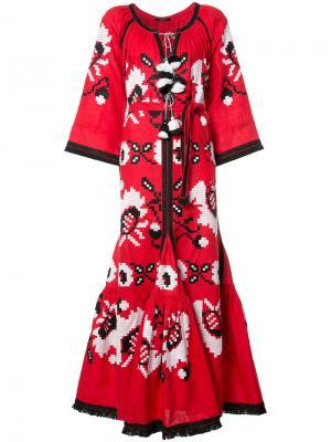 Расклешенное платье с бахромой по краями Vita Kin. Цвет: красный