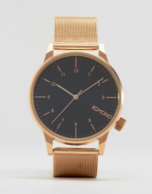 Komono Розово-золотистые часы с черным циферблатом Winston Royale. Цвет: золотой