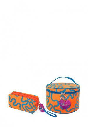 Набор из 2 косметичек El Casa. Цвет: оранжевый