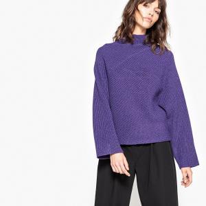 Пуловер из плотного трикотажа с воротником-стойкой La Redoute Collections. Цвет: карамель,фиолетовый,черный