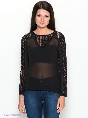 Блузка Vila. Цвет: черный