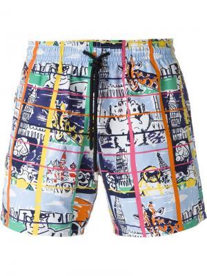 Плавательные шорты с сетчатым принтом Vilebrequin. Цвет: многоцветный