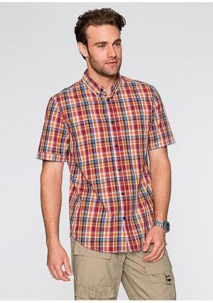 Рубашка с короткими рукавами. Цвет: зеленый в клетку, темно-оранжевый в клетку