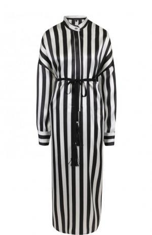 Шелковое платье-рубашка в полоску с поясом Ann Demeulemeester. Цвет: черно-белый