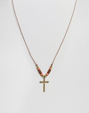 Classics 77 Ожерелье с крестом. Цвет: коричневый