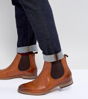 ASOS Коричневые кожаные ботинки челси для широкой стопы. Цвет: рыжий