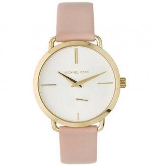 Кварцевые часы с кожаным ремешком Michael Kors