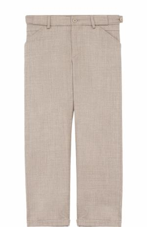 Шерстяные брюки прямого кроя с отворотами Loro Piana. Цвет: серый