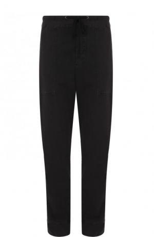 Хлопковые брюки прямого кроя James Perse. Цвет: черный