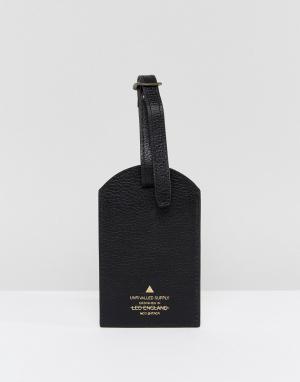 ASOS Черная кожаная багажная бирка. Цвет: черный