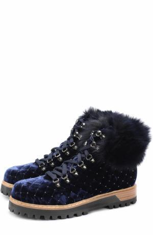 Бархатные стеганые ботинки на шнуровке Le Silla. Цвет: темно-синий