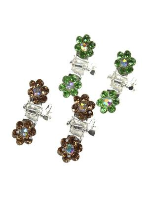 Заколка-краб - 4 шт. Infiniti. Цвет: бежевый, зеленый, серебристый