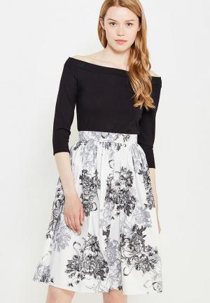 Комплект лонгслив и юбка 1001dress. Цвет: черно-белый