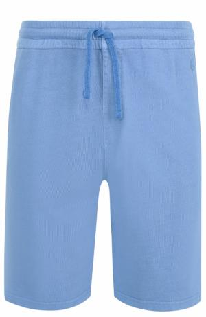 Хлопковые шорты с поясом на резинке Z Zegna. Цвет: голубой