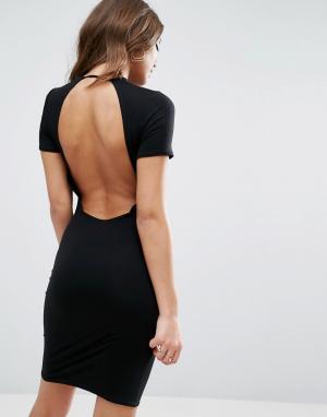 ASOS Облегающее платье-футболка мини с открытой спиной. Цвет: черный