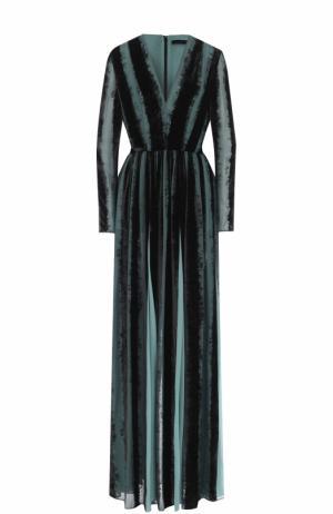 Платье-макси с бархатной отделкой и поясом Elie Saab. Цвет: разноцветный