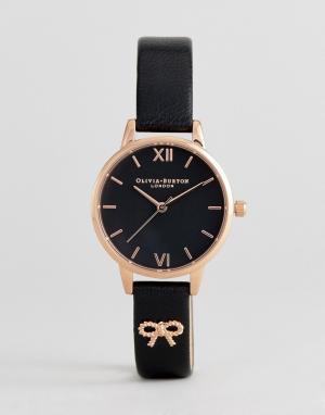 Olivia Burton Часы с коричневым кожаным ремешком и бантиком OB16VB07. Цвет: черный