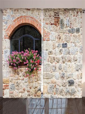 Фотошторы Каменные стены, 290*265 см Magic Lady. Цвет: бежевый, красный, розовый, белый, черный, коричневый