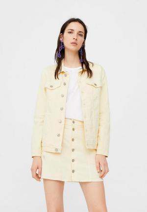 Куртка джинсовая Mango. Цвет: желтый