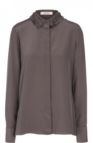 Шелковая блуза прямого кроя с декорированным оборками воротником Dorothee Schumacher. Цвет: темно-серый