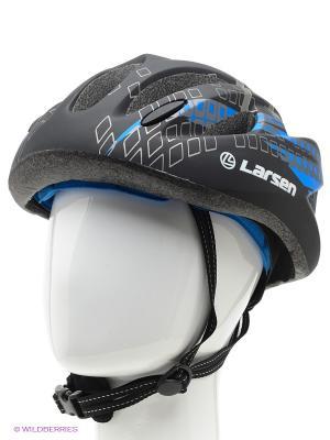 Шлем велосипедный Larsen. Цвет: черный, синий, белый