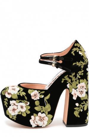 Туфли из текстиля с цветочной вышивкой Rochas. Цвет: черный