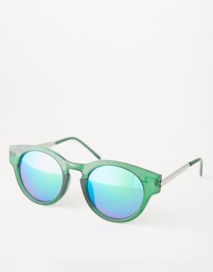 Trip Круглые солнцезащитные очки с зеркальными линзами. Цвет: зеленый
