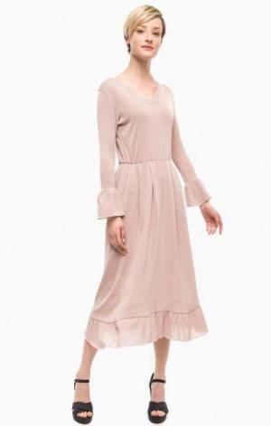Розовое платье из вискозы POIS. Цвет: розовый