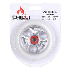 Колесо для самоката  Parabol Wheel 100Mm White/Chrome Core W/Print Chilli. Цвет: белый