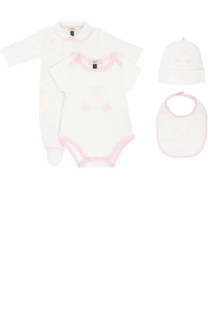Хлопковый комплект из пижамы с шапкой и боди нагрудником Armani Junior. Цвет: розовый