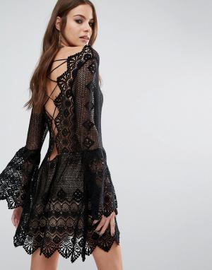 Jens Pirate Booty Платье миди с открытой спиной Everlasting. Цвет: черный