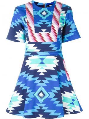 Расклешенное платье с ацтекским принтом House Of Holland. Цвет: многоцветный