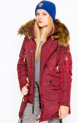 Удлиненная бордовая куртка с капюшоном Alpha Industries. Цвет: бордовый