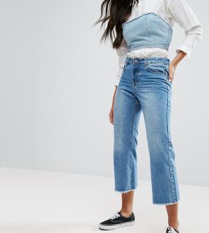 Liquor N Poker Широкие укороченные джинсы с необработанными краями. Цвет: синий