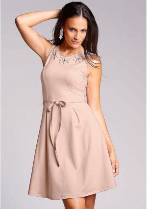 Платье MY STYLE. Цвет: бежевый