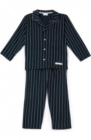Хлопковая пижама в полоску Grigioperla. Цвет: темно-синий