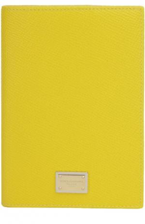 Кожаная обложка для документов Dolce & Gabbana. Цвет: желтый
