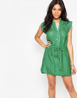 Deby Debo Зеленое платье со шнурком на талии Macaron. Цвет: черный