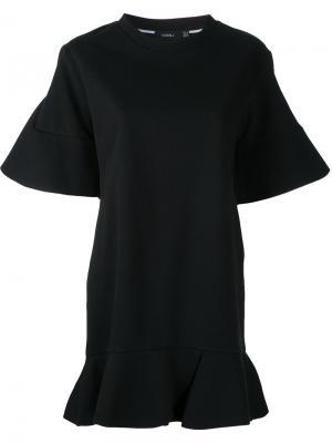 Платье-футболка с оборками Goen.J. Цвет: чёрный