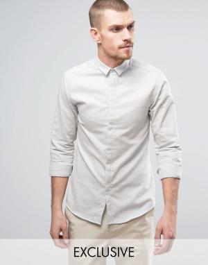 Noak Приталенная рубашка с маленьким воротником. Цвет: серый