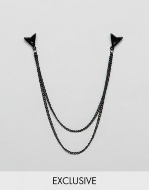 DesignB London Черные матовые уголки для воротника с цепочками. Цвет: черный
