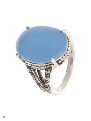 Кольцо МАРКАЗИТ. Цвет: серебристый, голубой