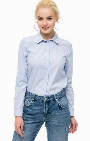 Приталенная рубашка с отделкой бусинами MORE &. Цвет: синий