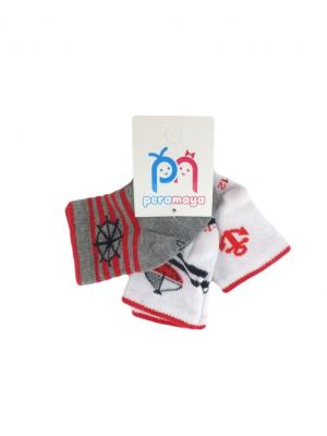 Носки детские, 3 пары PERA MAYA. Цвет: белый, серый, красный