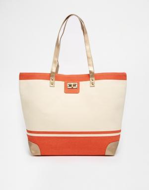 Thursday Friday Холщовая пляжная сумка в полоску. Цвет: белый