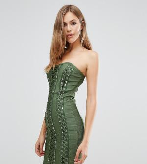 Wow Couture Бандажное платье с вырезом сердечком и декоративной шнуровкой Cout. Цвет: зеленый