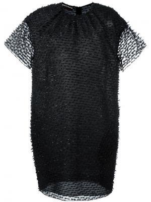 Платье-шифт с прозрачным слоем Rochas. Цвет: чёрный