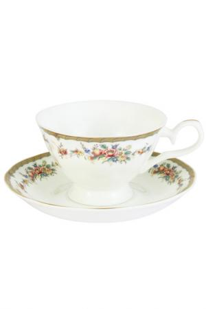 Чашка с блюдцем Изабелла EMERALD. Цвет: мультиколор