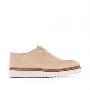 Ботинки-дерби кожаные на танкетке atelier R. Цвет: телесный