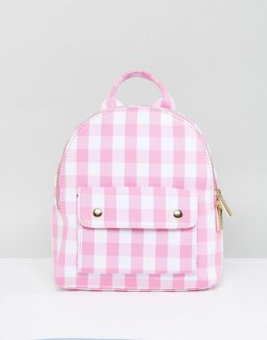 Skinnydip Мини-рюкзак в розовую клетку. Цвет: розовый